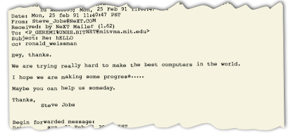 Mail From Steve Jobs
